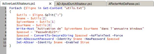 PowerShell-AD_ActivationUtilisateus