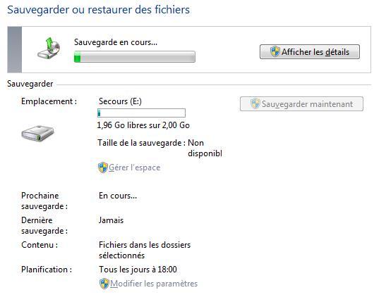 Windows7-Sauvegarde