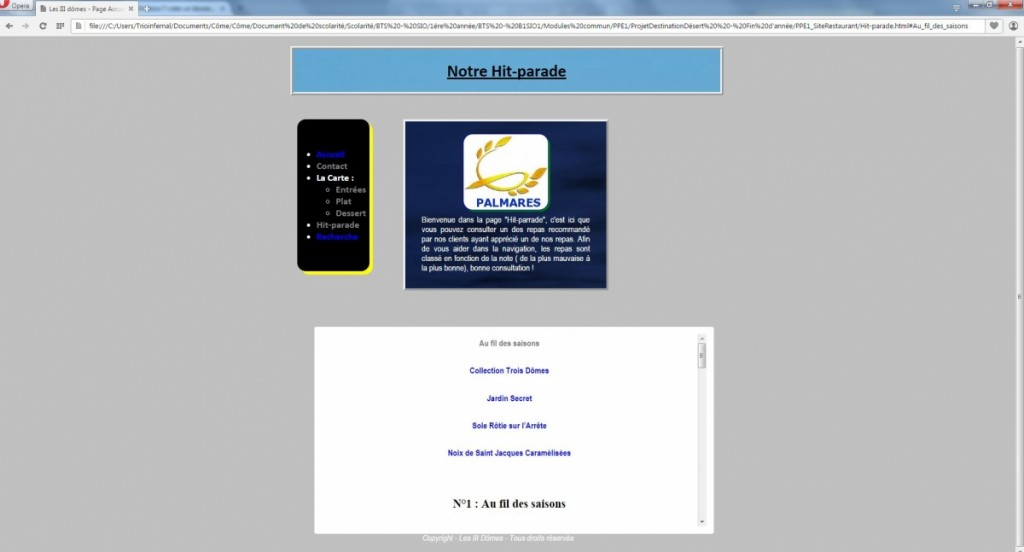 PPE1-ProjetWeb_SiteRestaurant_HitParade