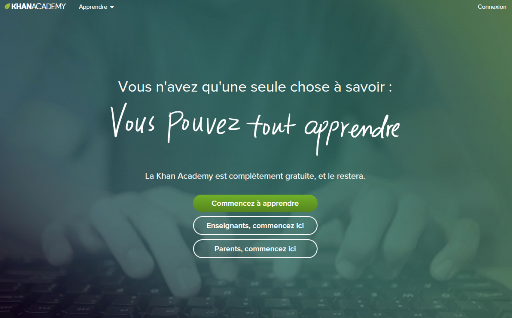 Page d'accueil du site officiel de Khan Academy