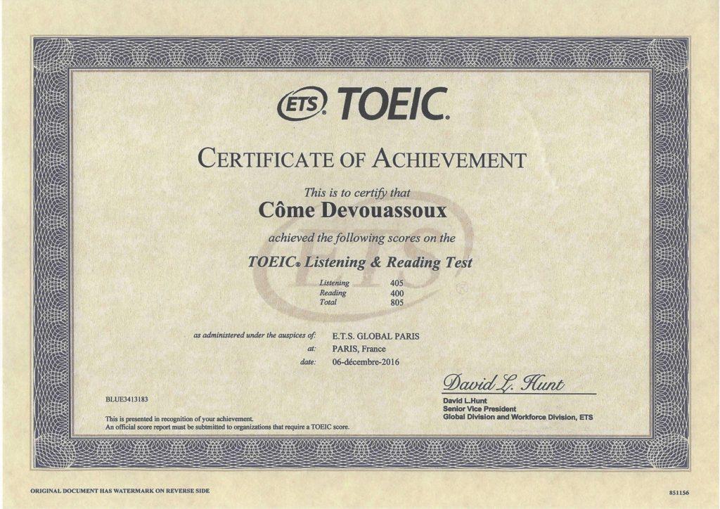 Certificat TOEIC - Côme Devouassoux