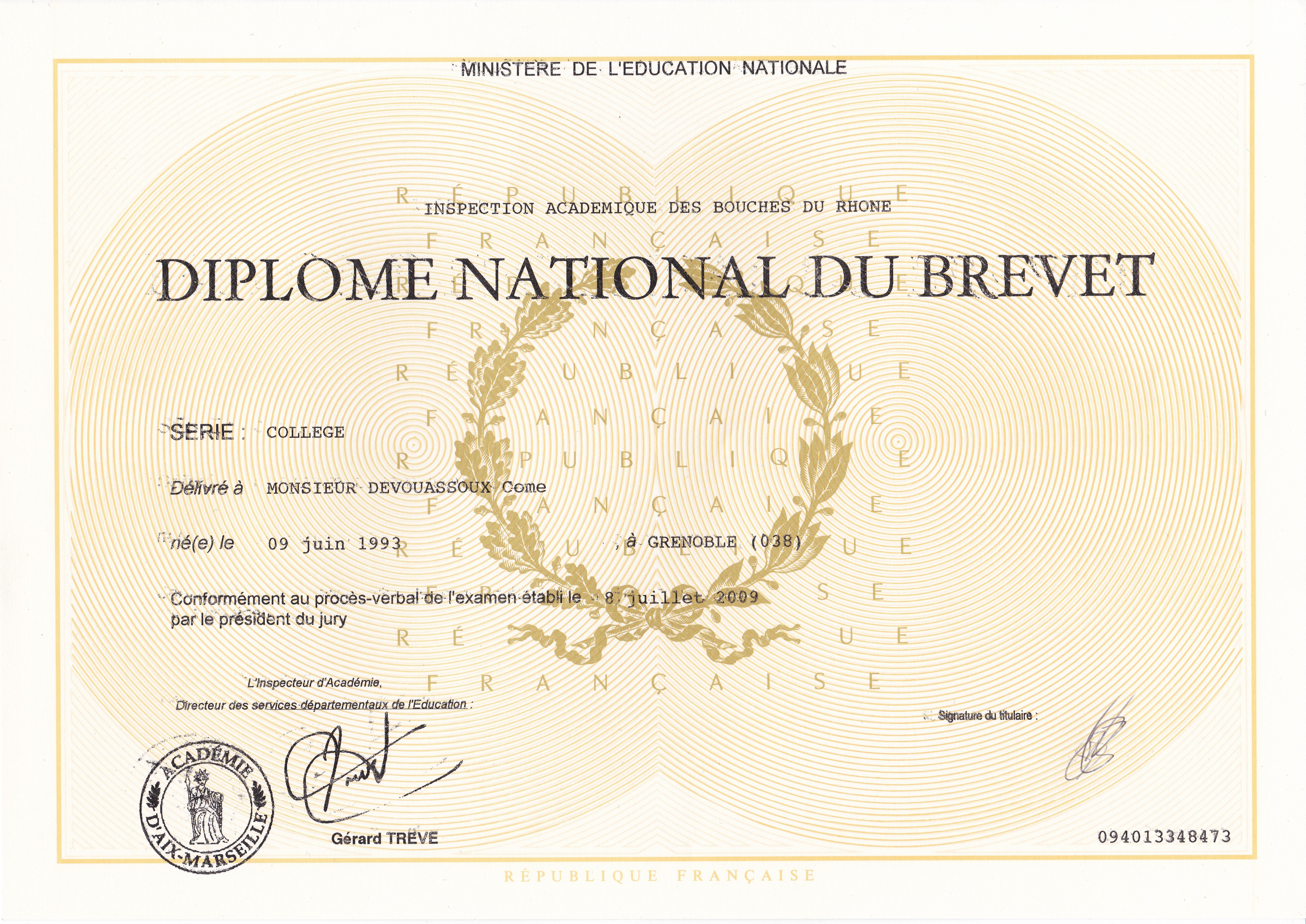 Brevet des collèges - Devouassoux Côme